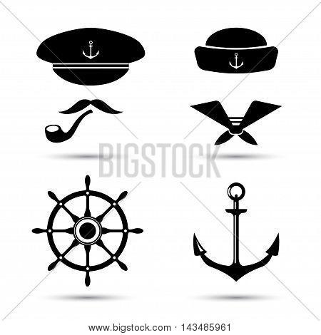 Vector nautical icons, captain and sailor, sea set. Ship, anchors and steering wheel