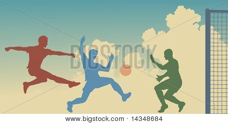 Editable vector colorful silhouettes of action in a football match