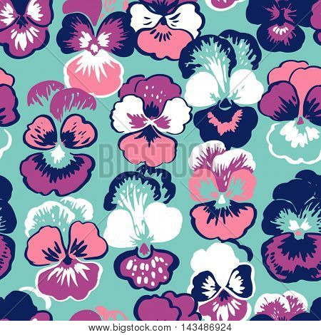 Seamless floral pattern with kiss-me-quick flowers