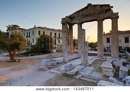 Remains of the Gate of Athena Archegetis and Roman Agora in Athens, Greece.