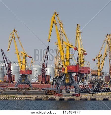 Odessa, Ukraine - July 30, 2016: Container Cranes In Cargo Port Terminal, Cargo Cranes Without Job I