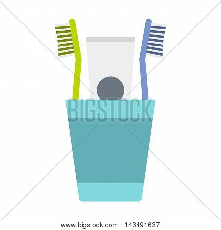 Cup with toothbrushes and toothpaste icon in flat style isolated on white background. Dental care symbol