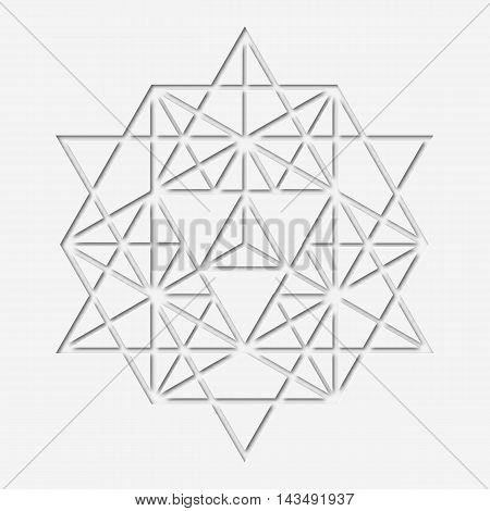 Sacral geometry design with polygon. Paper-made magic symbol, mystical crystal. Spiritual papery graphic