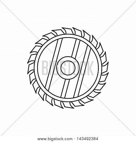 Saw circular wheel icon in outline style isolated on white background
