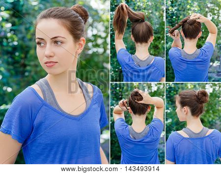 Hair tutorial. Hairstyle twisted bun tutorial. Backstage technique of twisting bun. Hairstyle. Tutorial. Hairstyle for sports