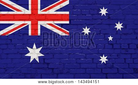 Australia flag on brick wall. Abstract background