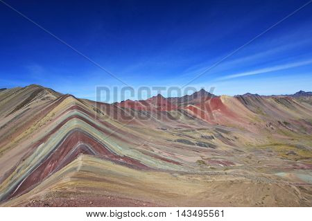 The beautiful coloured Rainbow Mountains in southern Peru near Cusco