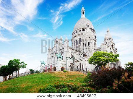 view of world famous Sacre Coeur church, Paris, France, retro toned