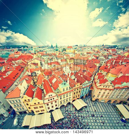 Prague. Old Town. View on many tourists seen from Old Town City Hall. European city concept. Vintage picture.