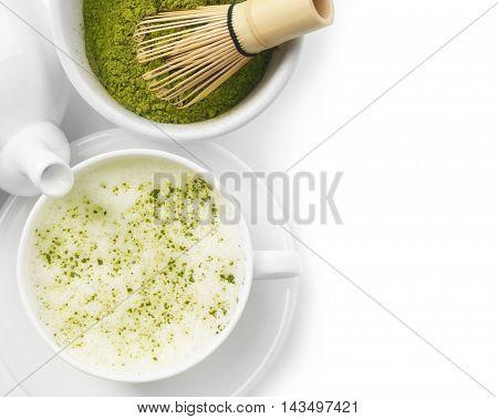 Green matcha tea set on white background
