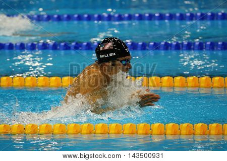 RIO DE JANEIRO, BRAZIL - AUGUST 13, 2016:Olympic champion Cody Miller of United States competes at the Men's 4x100m medley relay of the Rio 2016 Olympic Games at the Olympic Aquatics Stadium