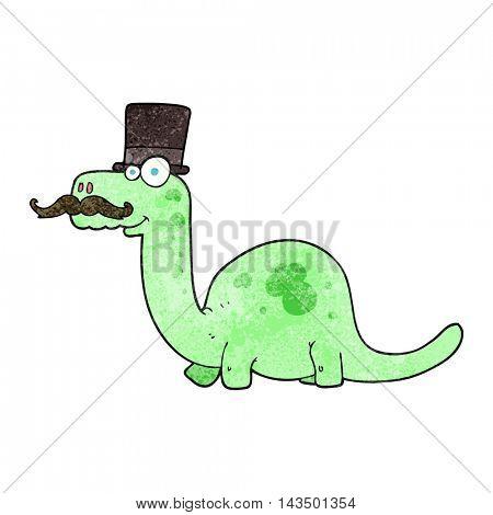 freehand textured cartoon posh dinosaur