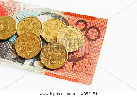 Australian One Dollar Coins on a Twenty Dollar Note.