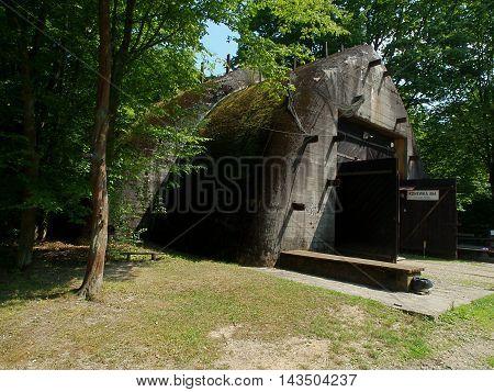 Bunker Station. village Konewka, Poland July 29, 2015 The gate of Hitler's bunker station (1940) in the village Konewka near Spala.