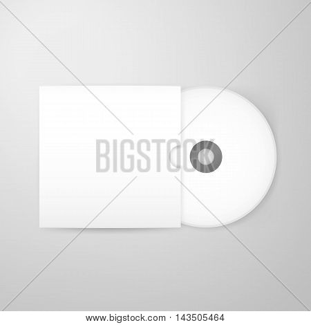 Compact Disc Blank Mockup with Cover. Vector Illustration of Empty White Realistic Disk over Grey Background.
