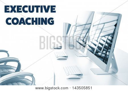 Modern computers in the office. Executive coaching concept