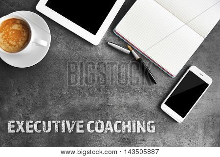Office table, flat lay. Executive coaching concept