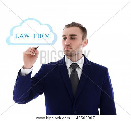 Handsome man writing LAW FIRM with marker, isolated on white.