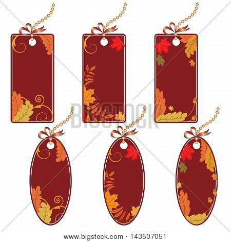 set of autumnal price tags with beautiful foliage