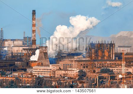 Industrial Landscape. Steel Factory. Heavy Industry In Europe