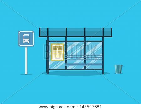 Empty Bus Stop with bench and trash receptacle and bus stop sign. vector illustration in flat style on blue background