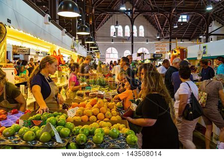 Lancaster PA - August 20 2016: Fruits vegetables and a variety of other items for sale in the Central Market in the City of Lancaster.