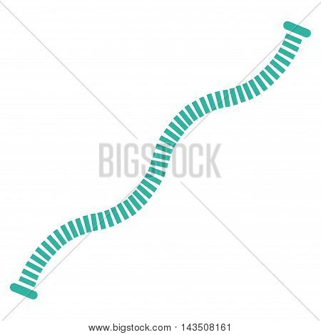 Flexible Pipe icon. Vector style is flat iconic symbol, cyan color, white background.