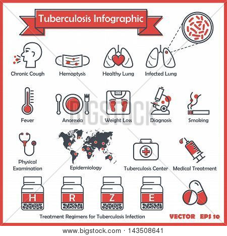 Tuberculosis (TB) infographics : TB symptoms (chronic cough,hemoptysis,fever,weight loss, anorexia ,night sweating) , Diagnosis for TB( collect sputum AFB , chest x - ray ) , Treatment regimens for TB