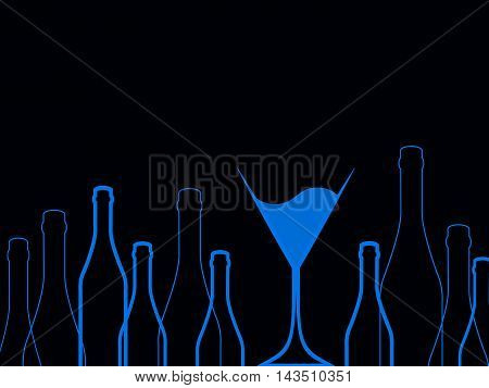 Cocktail Party Vector.Bar Menu Ilustration.Suitable for Poster.Party Blue Design Menu.Invitation Card with Glasses.Alcoholic Bottles Background.Wine List Design.