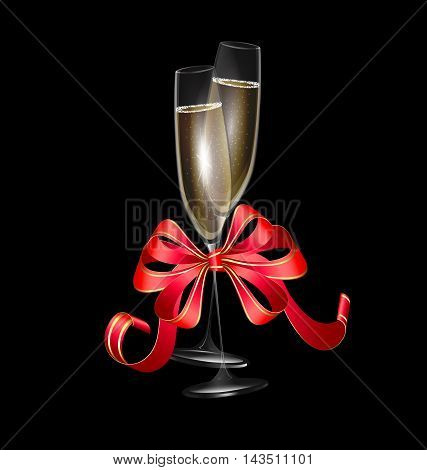 dark background and two glasses of wine with red festive bow