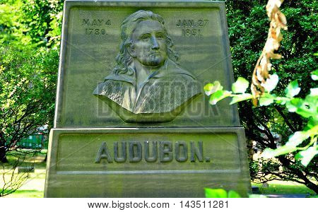 New York City - August 10 2013: Gravesite of American ornithologist and naturalist John James Audubon at Holy Trinity Church Cemetery on upper Broadway at West 155th Street