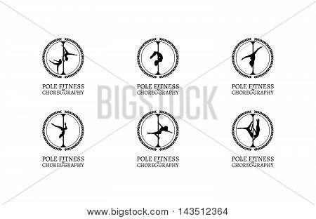 Set of Pole Dance School Logos or Badges. Corporate Identity for Pole Dance School.