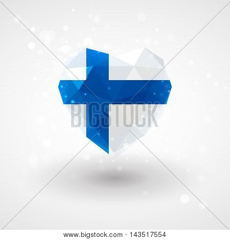 Finnish flag in shape of diamond glass heart in triangulation style for info graphics, greeting card, celebration of Independence Day, printed materials