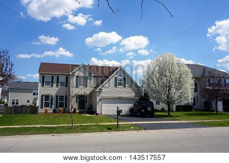 JOLIET, ILLINOIS / UNITED STATES - APRIL A home in the Wesmere Country Club subdivision of Joliet, Illinois.