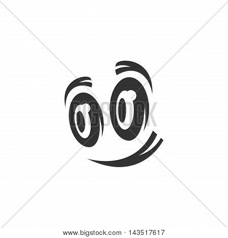 Cartoon eyes logo silhouette design template isolated on a white background. Simple concept icon for web, mobile and infographics. Abstract symbol, sign, pictogram, illustration - stock vector