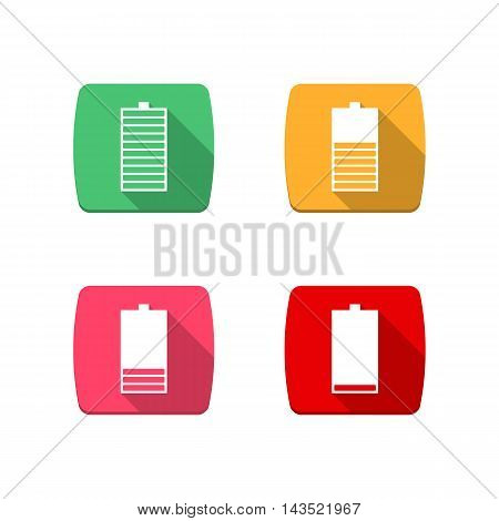 Set of four square icons battery charge level low medium full. Flat style with a long diagonal shadow vertical arrangement in power supply components. Isolated on white background stock vector.