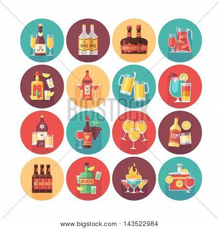Alcoholic drinks and beverage icon collection. Flat vector circle icons set with long shadow. Food and drinks.