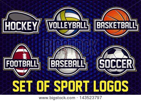 Set of sports logos soccer, american football, volleyball, baseball, basketball, hockey. Vector abstract isolated illustration