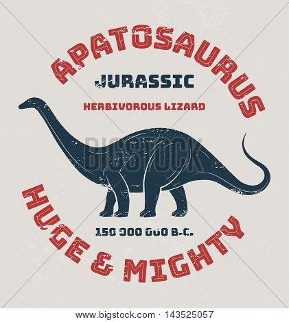 Apatosaurus t-shirt design print typography label. Vector illustration.