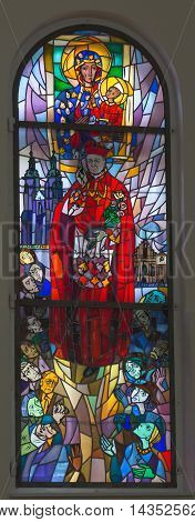 Komancza Poland - July 20 2016: Stained glass in the chapel of the convent of the Sisters of Nazareth in Komancza. From 1955 to 1956 the monastery was interned Cardinal Stefan Wyszynski