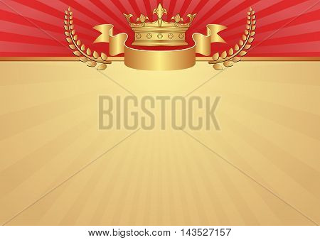 royal background with golden crown - vector illustration