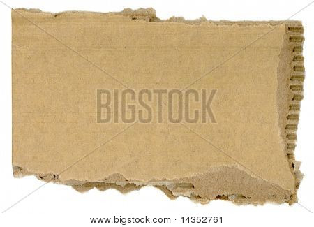 Torn corrugated cardboard, ready for your message.  Isolated on white.  XXL file.