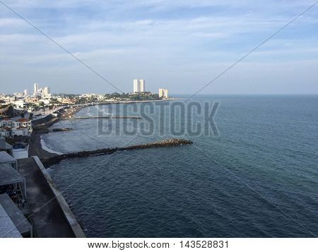 Amazing landscape with sea in Veracruz clear sky