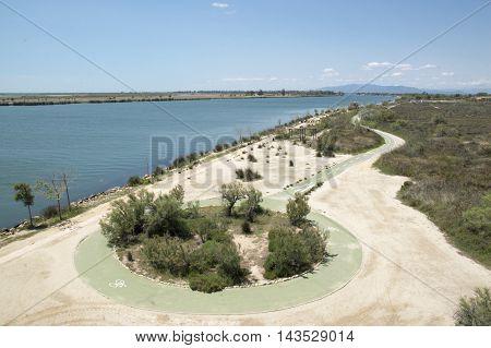 Cycleway on the Ebro delta in Tarragona, Catalonia, Spain.