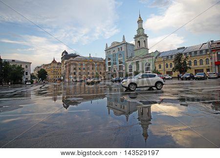 View Kontraktova Square after rain. Kiev Ukraine