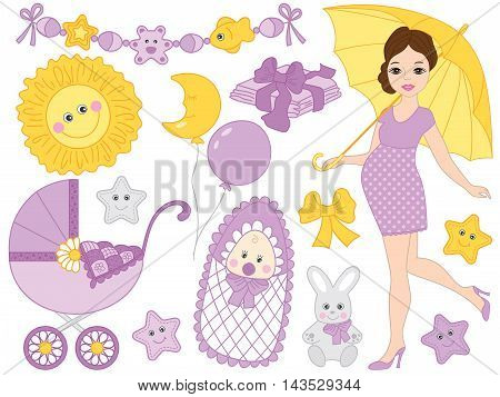 Vector beautiful pregnant woman set with newborn baby