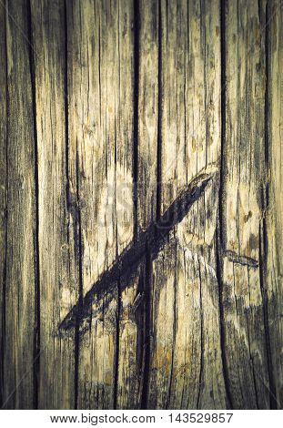 abstract background or texture furrow after saw on a piece of old wood