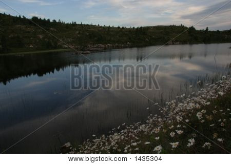 Norwegian Lake In The Evening