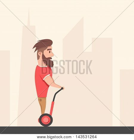 Man on hoverboard. Cartoon vector illustration. Human on Gyroscooter. Trend. Person on segway. Activity lifestyle. Cute character. Innovation transport