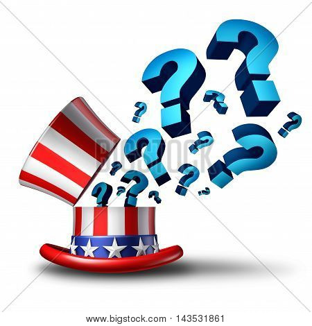 United States election question and American government questions as a 3D illustration representing policy and legislation confusion or voting decision choice on a white background.